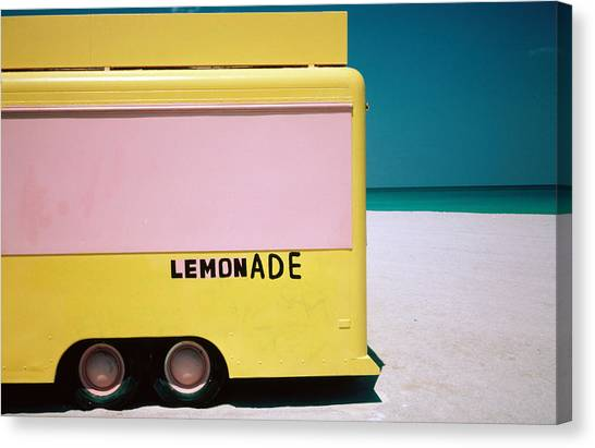 Hand Painted Lemonade Truck On Beach Canvas Print