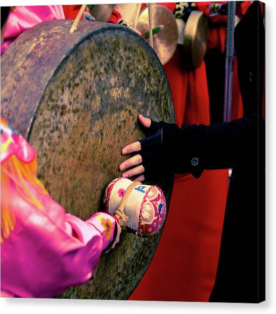 Chinese New Year Canvas Print - Hand Touching Drum by © Philippe Lejeanvre