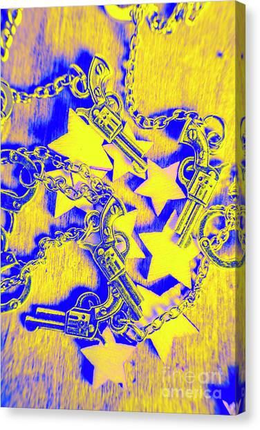 Texas Rangers Canvas Print - Handguns, Chains And Handcuffs by Jorgo Photography - Wall Art Gallery