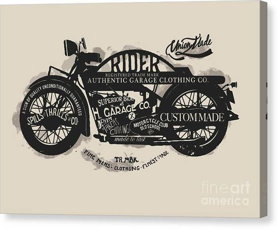 Type Canvas Print - Handmade Font Motorcycle Race With by Yusuf Doganay