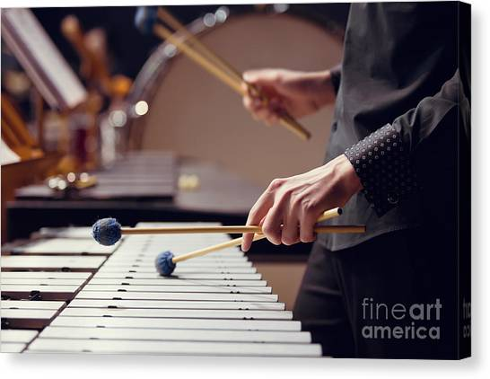 Student Canvas Print - Hands Of Musician Playing The Vibraphone by Furtseff