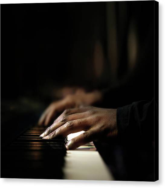 Synthesizers Canvas Print - Hands Playing Piano Close-up by Johan Swanepoel