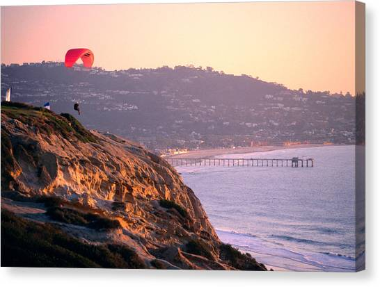 Hang-glider Taking Off, Torrey Pines Canvas Print