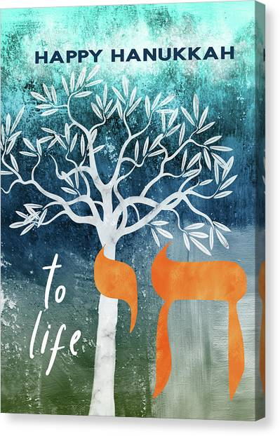 Temple Canvas Print - Hanukkah Tree Of Life- Art By Linda Woods by Linda Woods