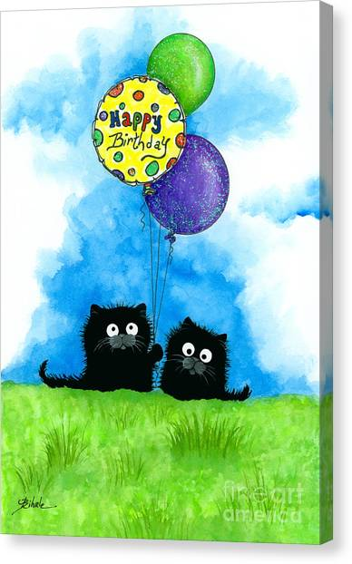 Happy Birthday Canvas Print - Happy Birthday Cats by AmyLyn Bihrle