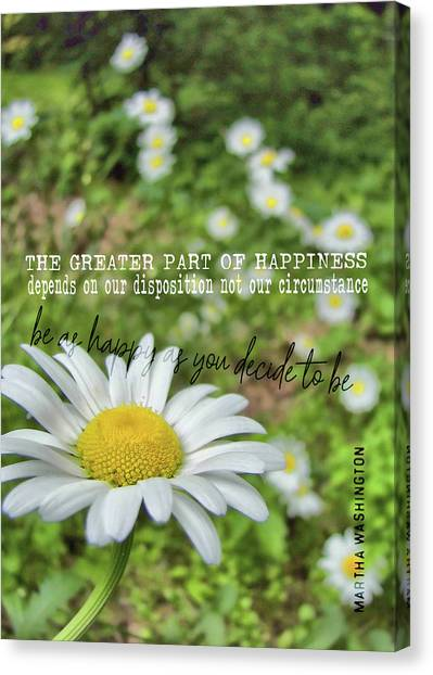 Happy Daisy Quote Canvas Print by JAMART Photography