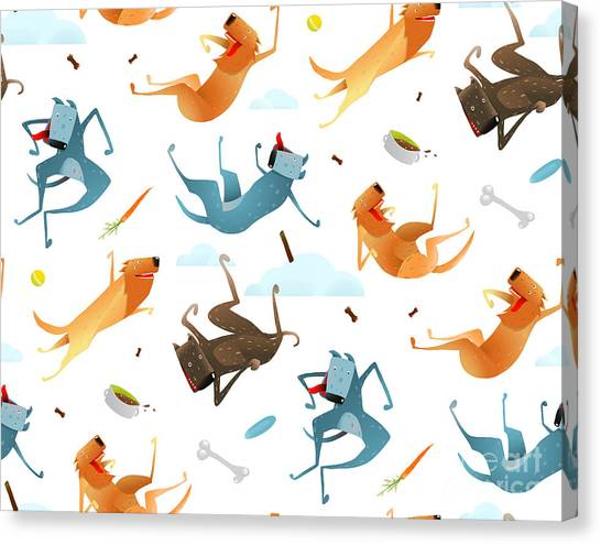 Balls Canvas Print - Happy Dogs And Doggy Food Seamless by Popmarleo