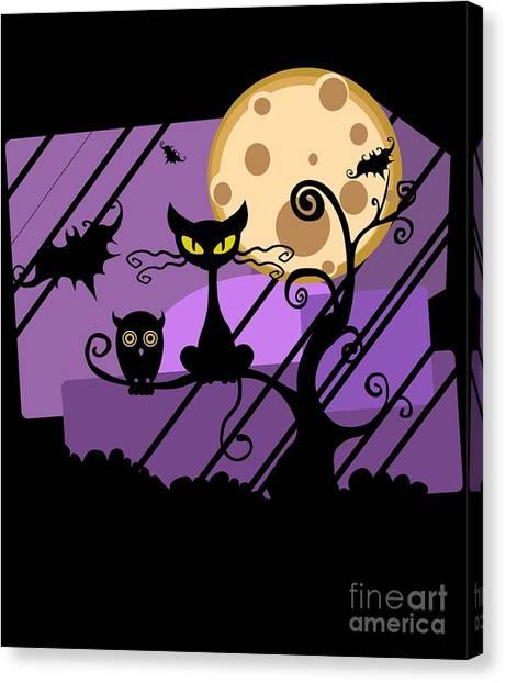 Happy Halloween Cat Canvas Print
