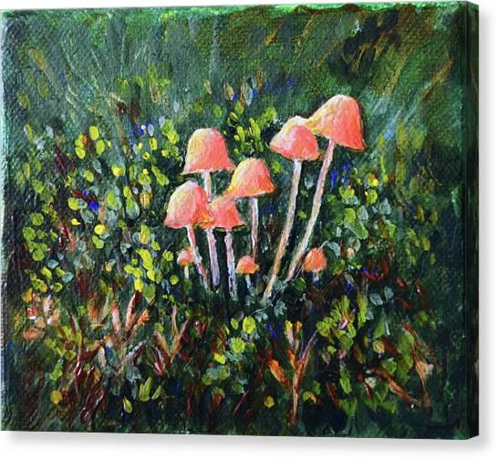 Happy Mushrooms Canvas Print