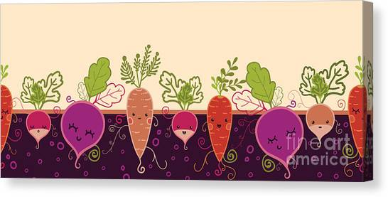 Horizontal Canvas Print - Happy Root Vegetables Horizontal by Oksancia
