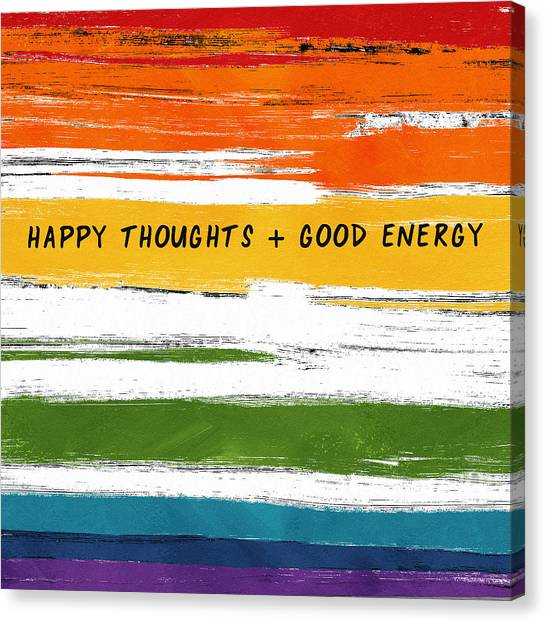 Stripe Canvas Print - Happy Thoughts Rainbow- Art By Linda Woods by Linda Woods