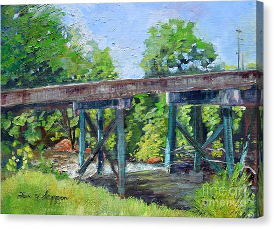 Canvas Print featuring the painting Harrison Park Bridge-ellijay River - Sun Peeking Under by Jan Dappen