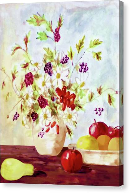 Harvest Time-still Life Painting By V.kelly Canvas Print