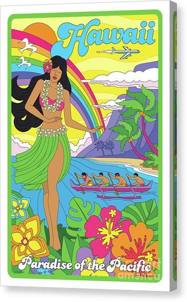 Hibiscus Canvas Print - Hawaii Poster - Pop Art - Travel by Jim Zahniser