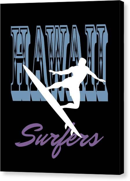 Surfboard Canvas Print - Hawaii Surfers Silhouette by Daniel Ghioldi