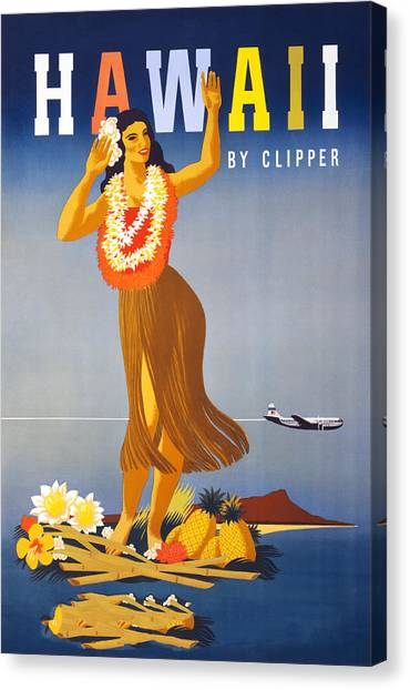 Hawaii Travel Poster Canvas Print by Graphicaartis