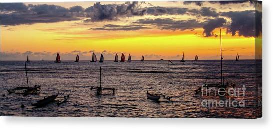Hawaiian Sunset - Honolulu, Oahu, Hawaii Canvas Print by D Davila