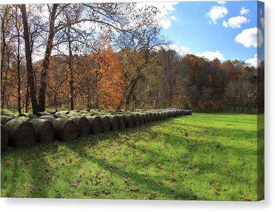 Canvas Print featuring the photograph Hay Bales On An Autumn Day by Angela Murdock