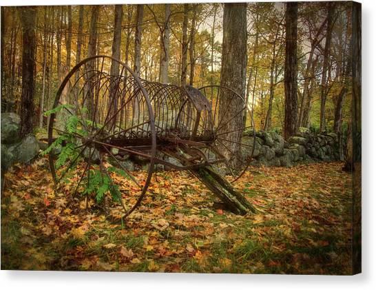 Canvas Print featuring the photograph Hay Rake On Farm In Autumn by Joann Vitali