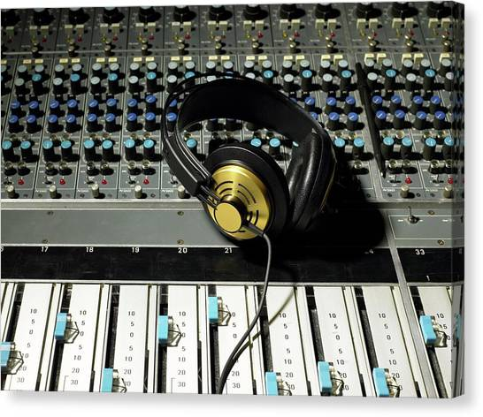 Keypad Canvas Print - Headphones On A Mixing Desk by Image Source