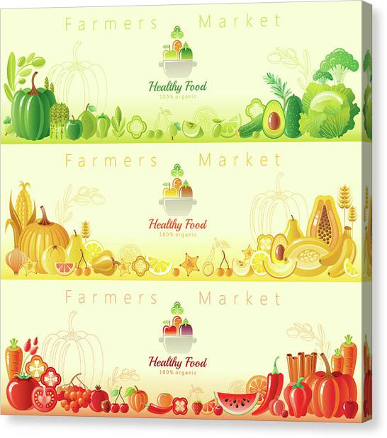 Healthy Organic Food Banners Canvas Print by O-che
