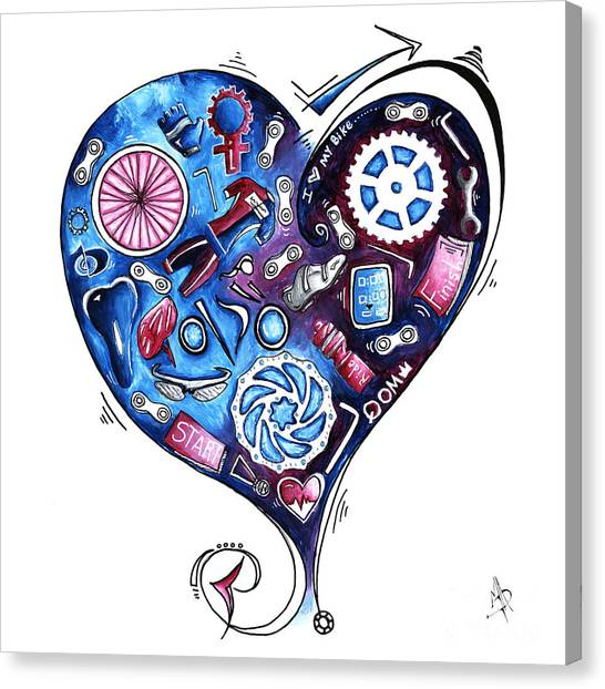 Canvas Print - Heart Racing A Mad Shredder Biking Cycling Painting By Megan Duncanson by Megan Duncanson
