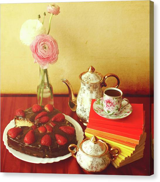 Vase Of Flowers Canvas Print - Heart Shaped Chocolate Strawberry Cake by Julia Davila-lampe