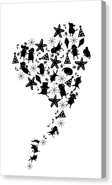 Heart Shaped Dogs And Stars In Black & Canvas Print by Meg Takamura