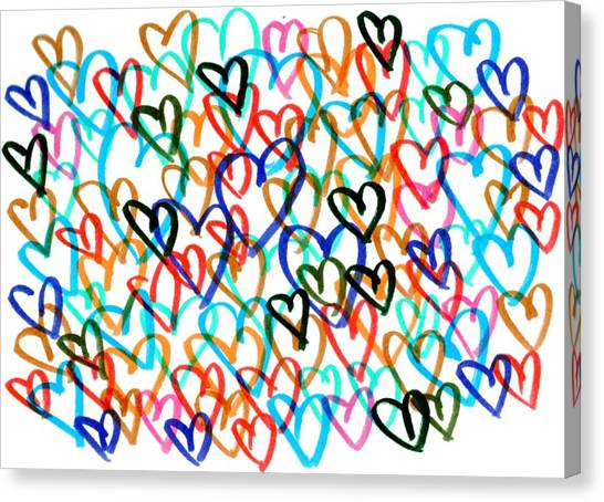 Canvas Print featuring the drawing Hearts by Bee-Bee Deigner