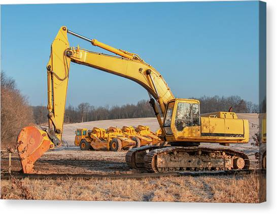 Backhoes Canvas Print - Heavy Equipment by Todd Klassy