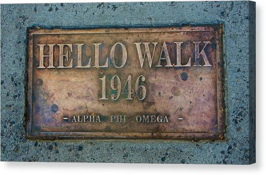 Alpha Phi Canvas Print - Hello Walk 1946 by Ed Broberg
