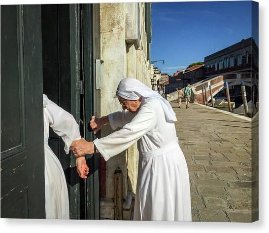 Nuns Canvas Print - Helping Hands by Michael Gerbino