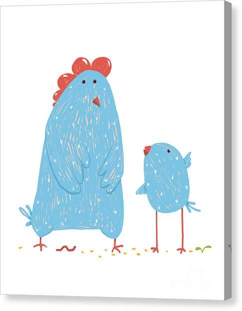 Livestock Canvas Print - Hen And Chicken Childish Cartoon by Popmarleo