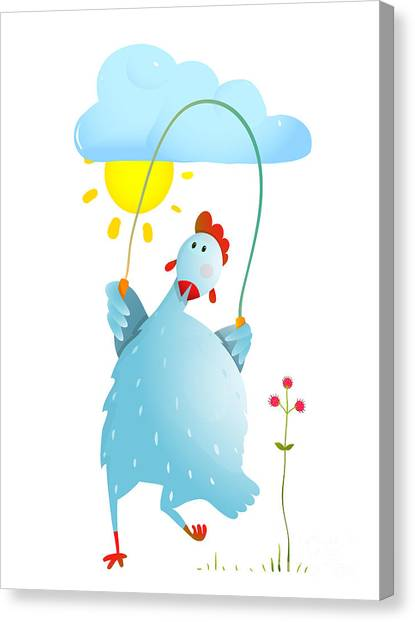 Jump Rope Canvas Print - Hen Jumping Rope Childish Cartoon by Popmarleo