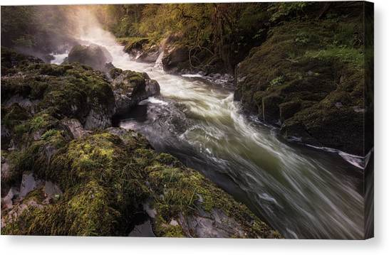 Canvas Print featuring the photograph The Teifi At Henllan Falls by Elliott Coleman
