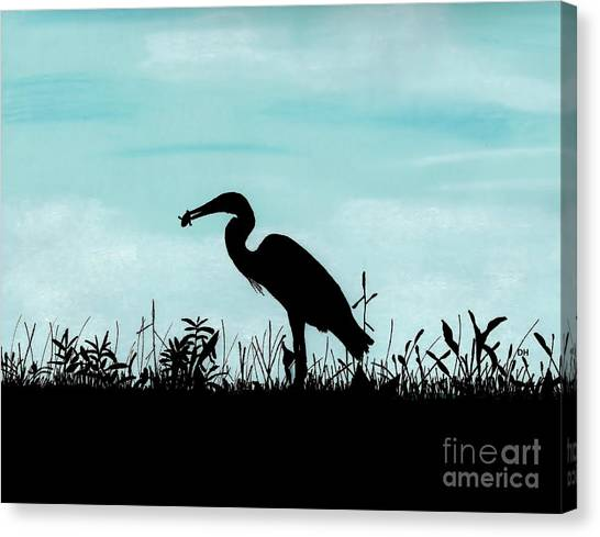 Heron Has Supper Canvas Print