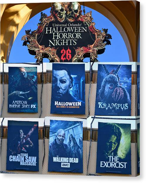 The Exorcist Canvas Print - Hhn 26 Line Up And Tribute by David Lee Thompson