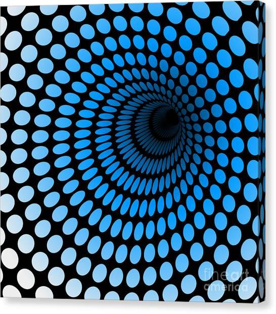 Dots Canvas Print - Hi Tech Blue Tunnel, Digital Dynamic by Artcalin