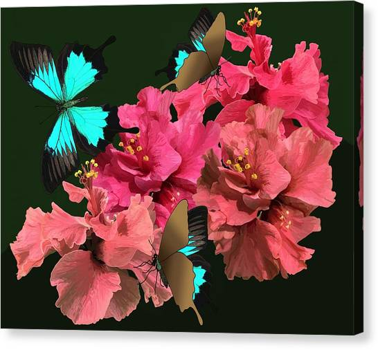 Hibiscus Butterfly Joy Canvas Print