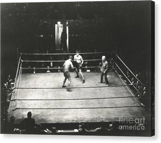 Indoors Canvas Print - High Angle View Of Boxing Match by Everett Collection