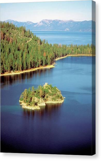 High Angle View Of Emerald Bay, Lake Canvas Print