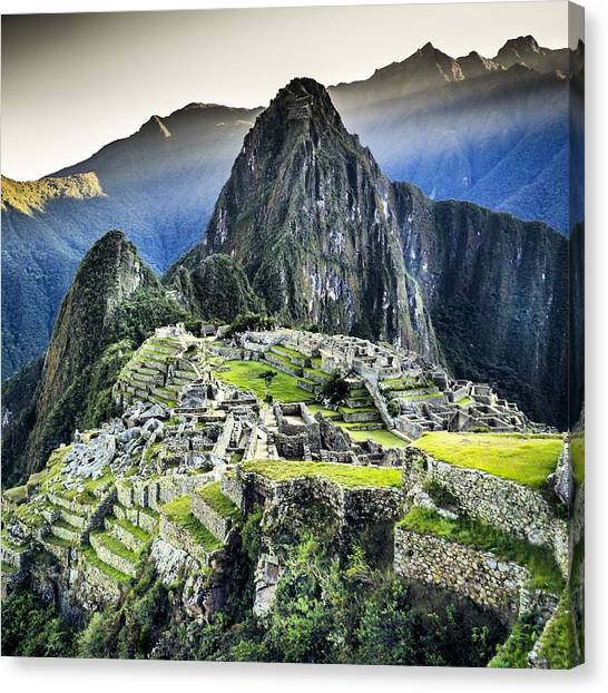 High Angle View Of Machu Picchu Against Canvas Print by Diego Cambiaso / Eyeem