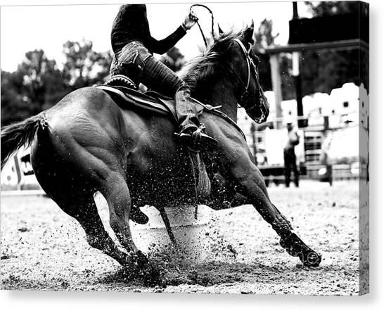 Cowboy Canvas Print - High Contrast, Black And White Closeup by Lincoln Rogers