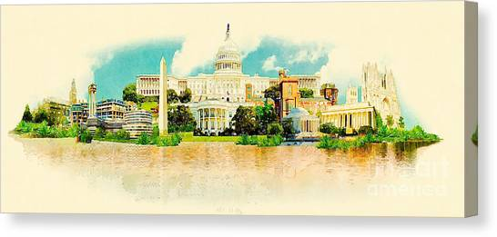 Famous Places Canvas Print - High Resolution Panoramic Watercolor by Trentemoller