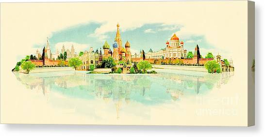 Famous Places Canvas Print - High Resolution Panoramic Watercolour by Trentemoller