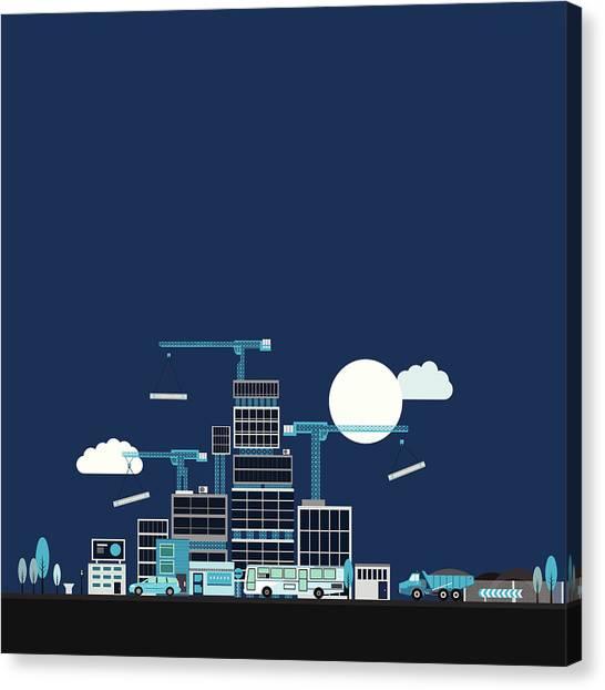 Dump Trucks Canvas Print - High Rise City Building Development by Robert Hanson