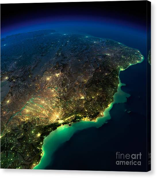 South American Canvas Print - Highly Detailed Earth, Illuminated By by Anton Balazh