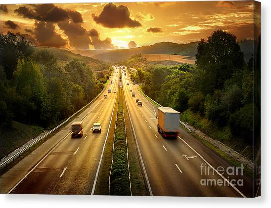 Empty Canvas Print - Highway Traffic In Sunset by Llaszlo