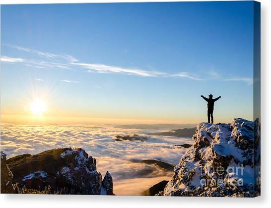 Mountain Climbing Canvas Print - Hiker Celebrating Success On Top Of A by Catalin Grigoriu
