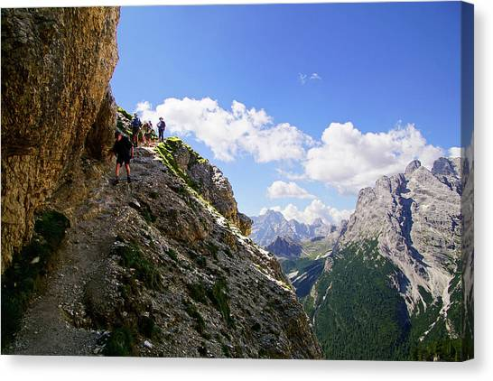 Hikers On Steep Trail Up Monte Piana Canvas Print